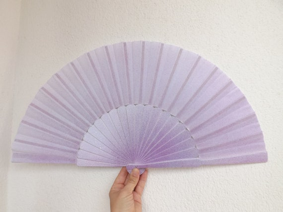 MTO XL Supersize Mermaid Scale Blue White Wood Hand Fan ~ Traditional Spanish Fan Wood Fabric ~ Made to Order Folding Fan