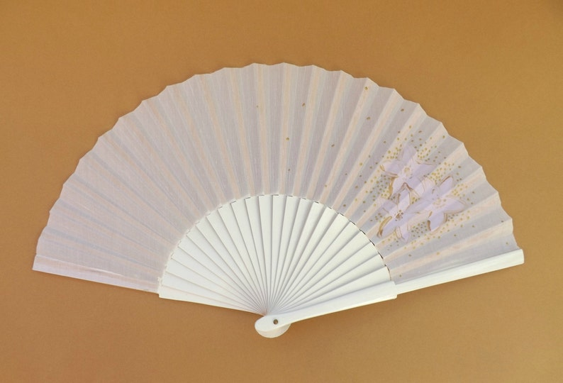 MTO Std Subtle Lilac and Gold Floral Wood Hand Fan ~ Traditional Spanish Fan Wood Fabric ~ Made to Order Folding Fan