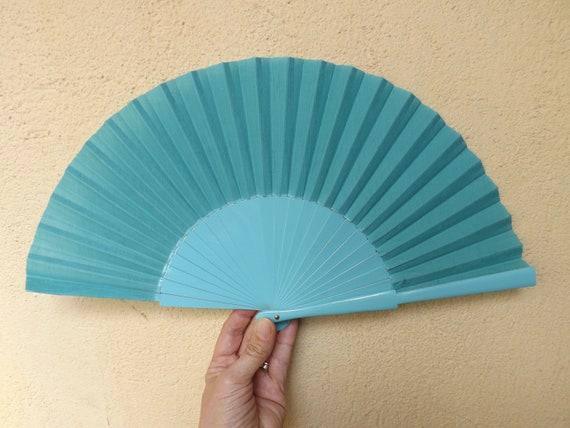 Paint Fan Wedding Fan Folding Fan Std White Speckled Gray Hand Fan ~ Wood Handheld Fan Spanish Fan Wood Fabric ~ Ready to Ship