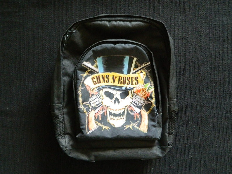 Vintage Guns n Roses Backpack Dio Europe Sex PIstols Kiss Ozzy Iron Maiden Guns n Roses Slash