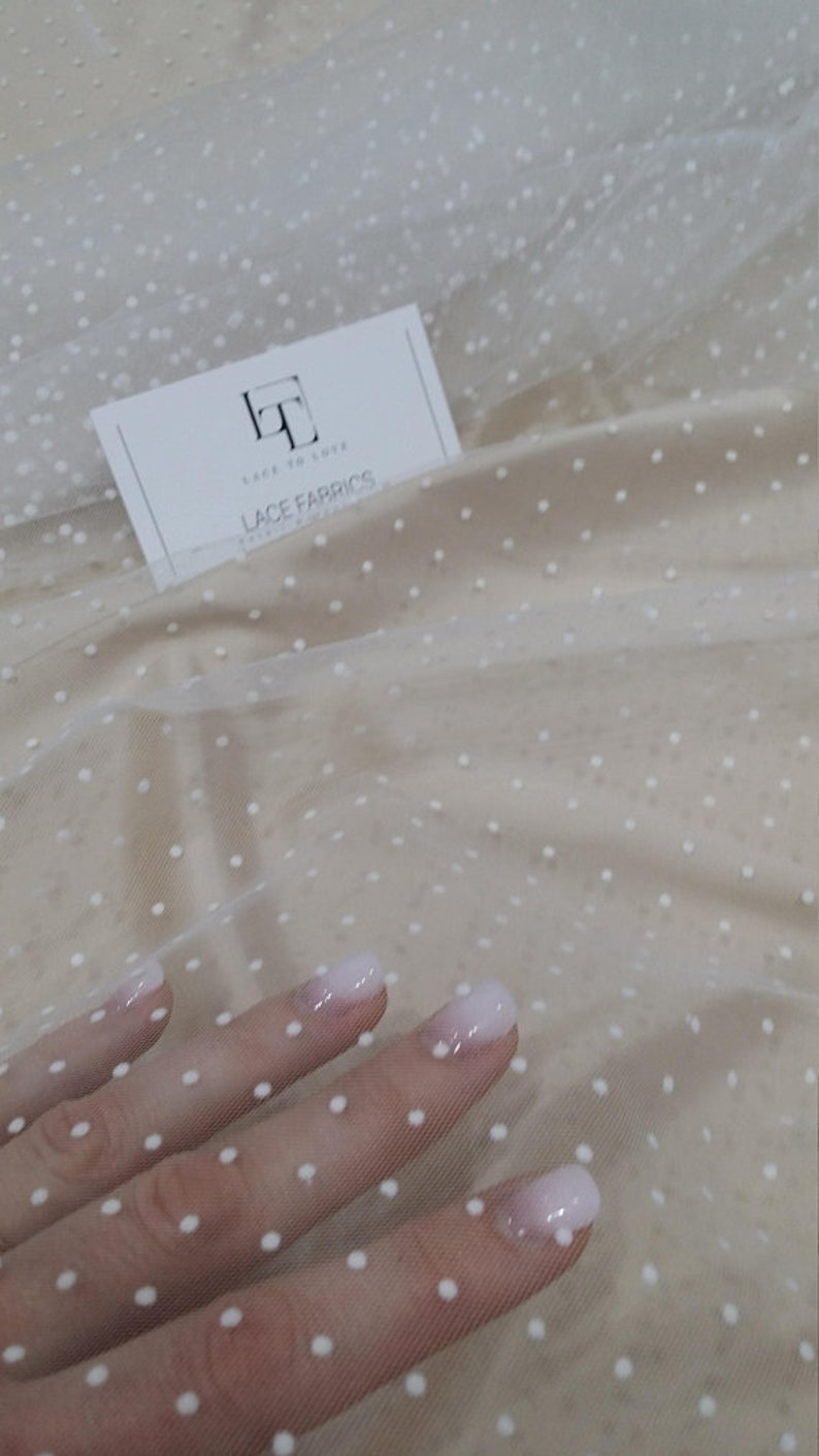 tulle meterware TK9504 White tulle fabric with dots