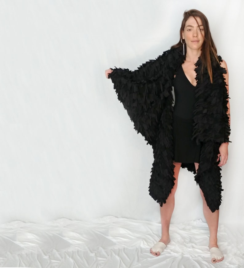 BLACK FRINGE VEST  sleeveless cardigan  handmade one of a kind   high fashion item  avant-garde  costume design  burning man