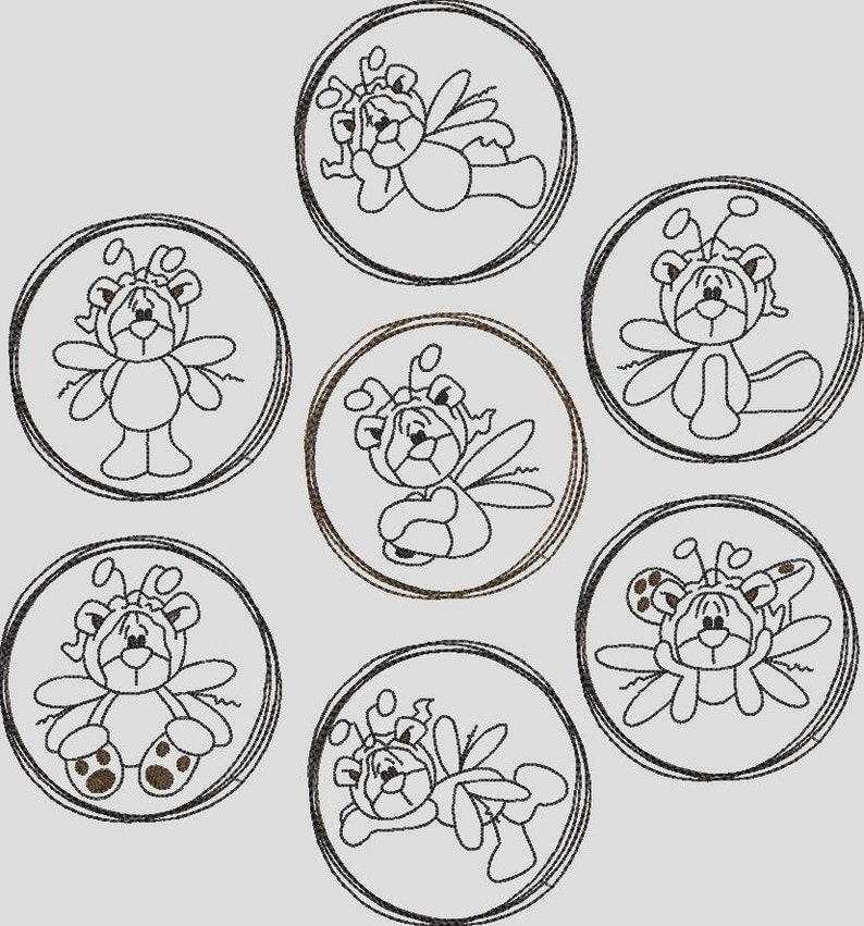 Embroidery File Butterfly Teddy Angel Doodle Frame Set 2011 Machine Embroidery Stickman