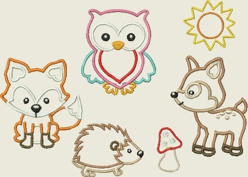 Embroidery file Animals in the forest Fox owl Application deer hedgehog Sun mushroom machine embroidery 204