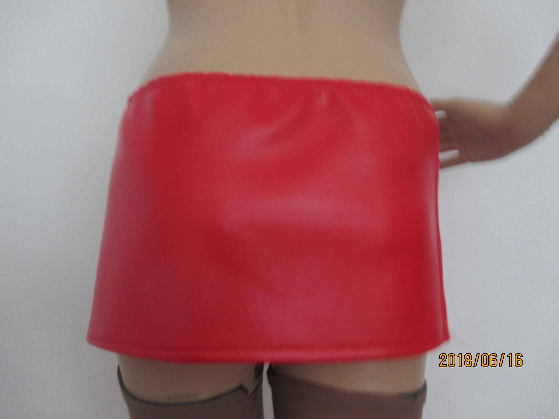 7fa8efa054b Size 10-22 PVC Rubber Look Skirt Micro Mini Skirt Red Faux