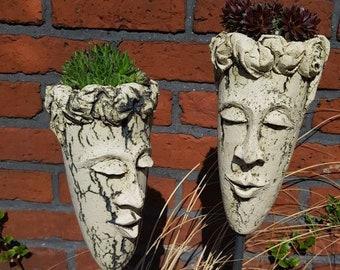 SUKKULENTENKOPF DUO - garden ceramics - decoration garden (height 24 cm   width 14 cm)