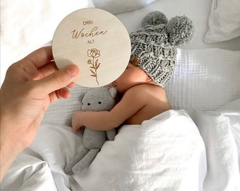 """Milestone cards BASIS-SET / Precious wood for the 1st baby year """"Floral"""" + free name tag"""