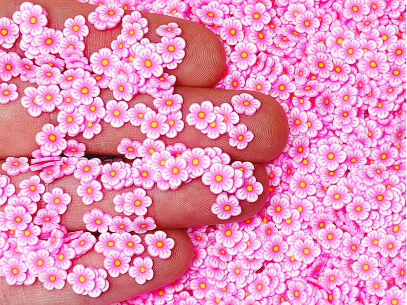 Spring and Summer Miniature Sprinkles Polymer Clay Slices Affordable Pink Flower Fimo Slices Nail Art #65 Free Shipping Eligible