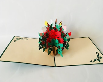 Rosenstrauß 2 Glückwunschkarte 3D-Klappkarten Grußkarte Pop-up Karten