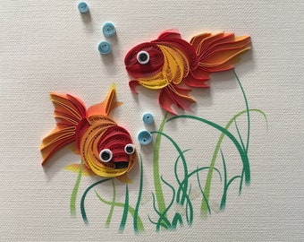 Quilled Fish Card Etsy