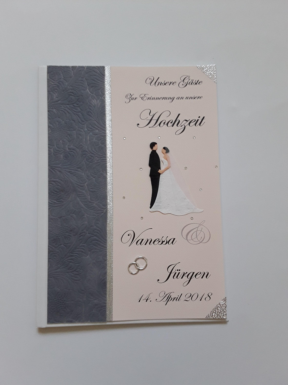 Hardcover-Gästebuch Hochzeit zart-rosa mit grau