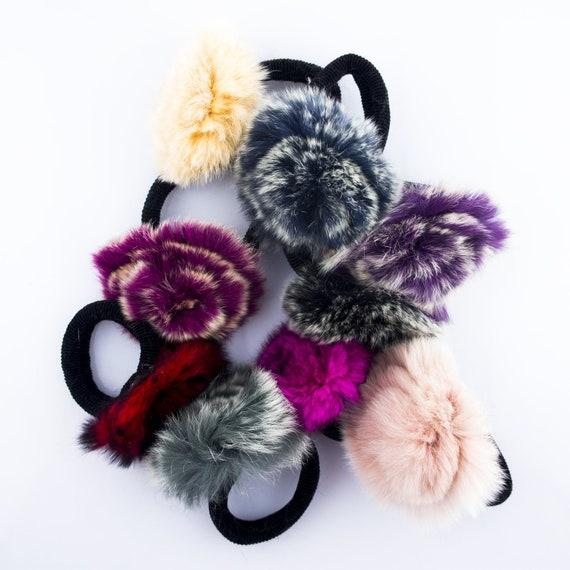 70 mm Diameter A Pair of Luxury Rabbit Fur Pompom Hair Bands in a Rosette Flower Design