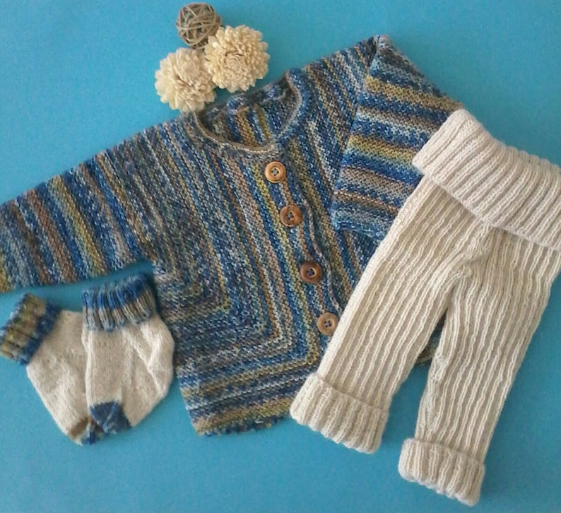 trousers and socks--Gr. Baby set--jacket 6268--hand knitted--woolAlpaca--color bluenatural--