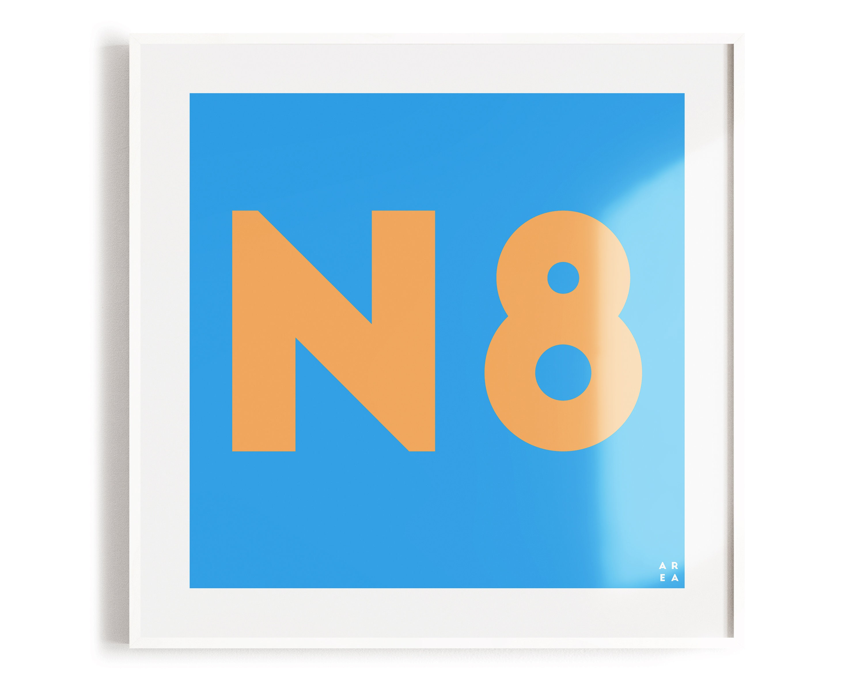 Beach Crouch End Postcode Print | Blue & Orange | N8 | London Art |  Typographic Print | North London | Letter Art | Crouch End Gift