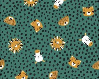 Jersey cotton jersey animals lion ochre