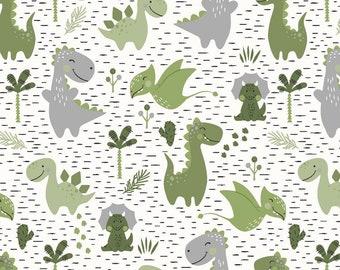 Jersey cotton jersey dino dinosaur green
