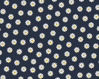 Fabric cotton popelin dark blue flowers
