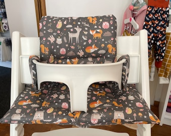 TrippTrapp seat cushion cover washable forest animals grey