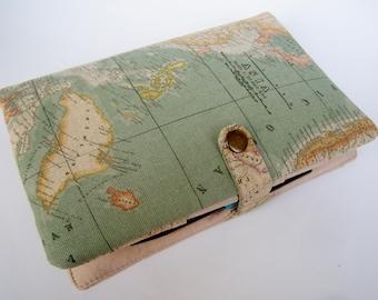 Reisetagebuch Organizer Weltkarte incl  Notizbuch