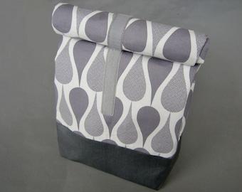 XL Kulturbeutel Drops Baumwolle Tropfen grau weiß mit Wachstuch