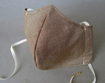 Mund-Nasen-Abdeckung Maske mit Einschub Baumwolle Leinen Brownie braun beige