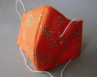 Mund-Nasen-Abdeckung Maske mit Einschub Baumwolle Leinen orange