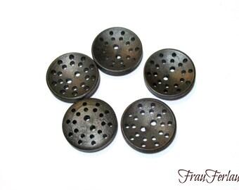 6 wooden buttons dark brown 25 mm buttons holes