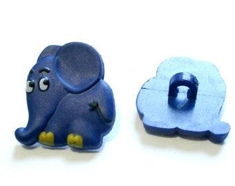 2 xKnopf elephant 20 mm children's button plastic blue