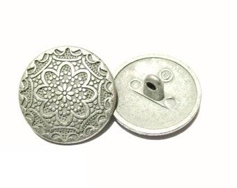 Metal button costume button 20 mm metal grey flower