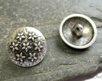 3 metal buttons alty-silver flowers 20 mm Seco button