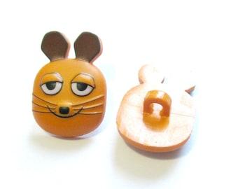 2x Button Mouse 20 mm children's button plastic