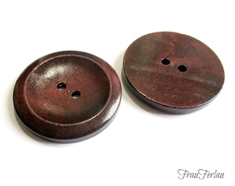 2 large wooden buttons red brown 40 mm buttons wood