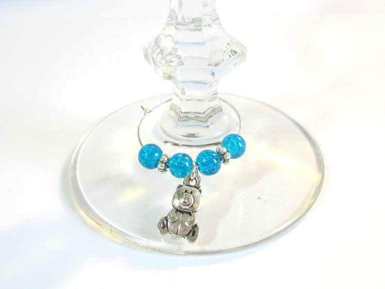 Craft Set 6 Wine Glass Rings Bathle Glass beads blue Table Decoration Decoration Glass Jewelry Wine Glass marker Glass Marker Table Jewelry Fest