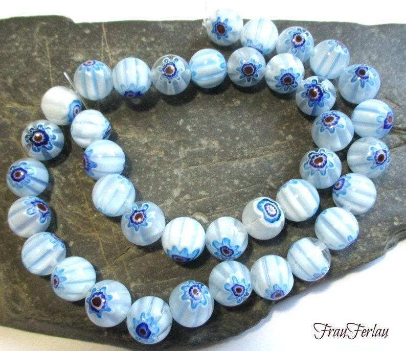 glass beads flower light blue white 10 mm 38 pcs strand