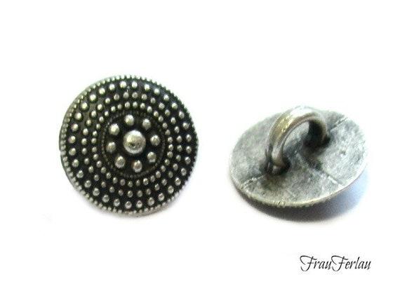 4 Trachtenknöpfe Metall altsilber 20 mm