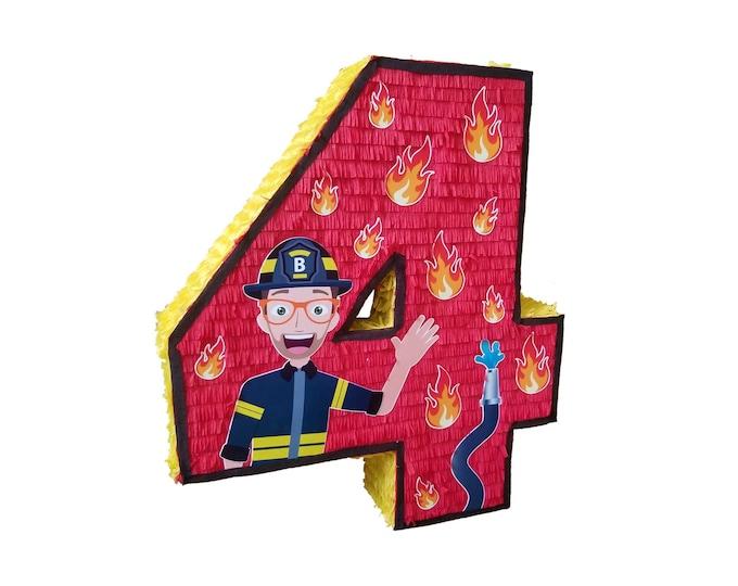 Fireman Blippi Number Pinata