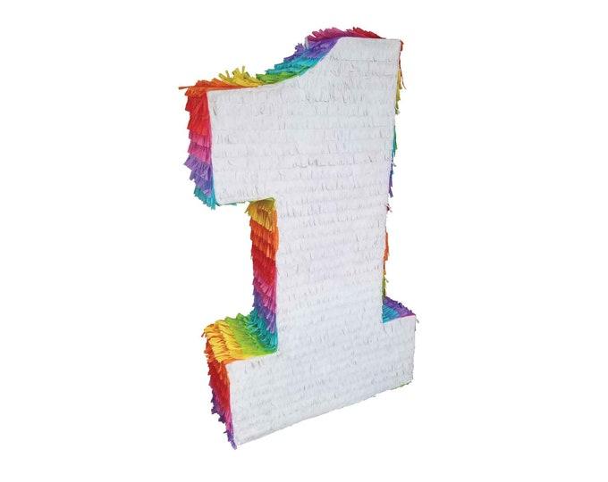 White Rainbow Number Pinata