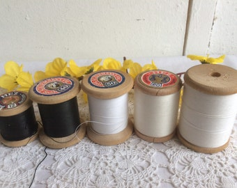 Sewing thread on wooden coils set of 5