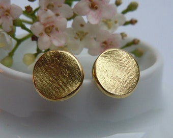 Modeled stud earrings 750 gold round 9 mm disc