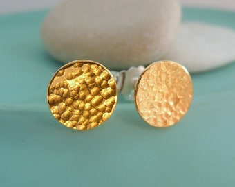 Round studs silver disc with fine gold and hammer blow 7.8 mm