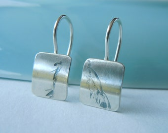 Small square earrings 925 silver with fine vegetable relief 10.5 x 9 mm