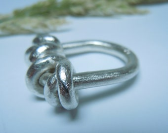 Four-knot ring made of scratched 925 silver unique jewelry