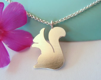 Customizable squirrel pendant made of 925 silver for children on colored cotton cord or silver pea chain
