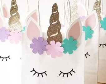 Unicorn Birthday Party Favor Bags Candy Baby Shower 1st Goody Bag Decoration Pink Gold Girls
