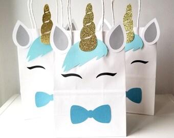 Unicorn Birthday Party Favor Bags Theme Bag Treat Goody Magical Decoration Blue Gold Boys