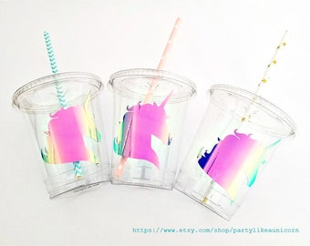 Unicorn Party Cups Birthday Ideas Themed Decor Baby Shower Favor Treat Straws