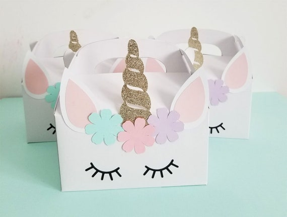 Unicorn Birthday Party Favor Box Theme