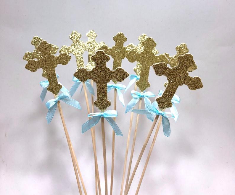 Cross Baptism Centerpieces Crosses Cross Sticks Christening Etsy