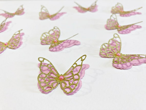 Butterfly Confetti 200 Pcs 3D Pink /& Gold Butterfly Confetti Butterfly Baby Shower Decorations First Birthday Bridal Shower Garden Party
