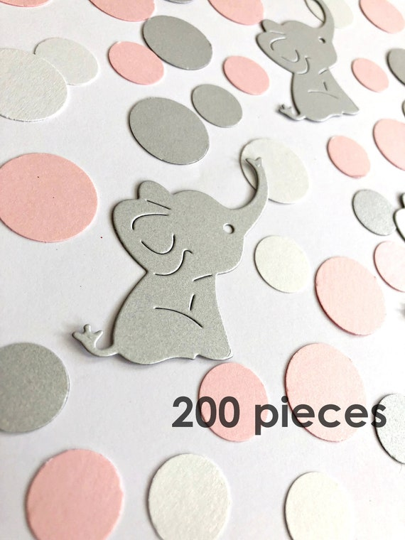 200 Pcs Elephant Baby Shower Decorations Pink Gray Elephant Confetti It S A Girl Elephant Decoration Girl Baby Shower Elephant Theme